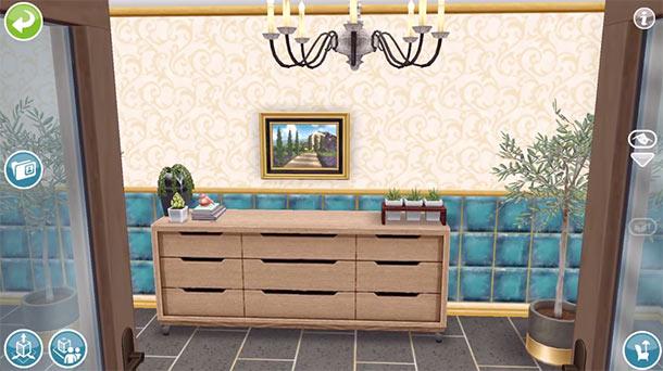 ARモードで見る、美容スパの玄関(The Sims フリープレイ)