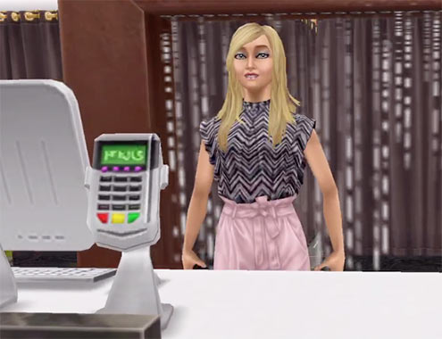ARモードで見る、美容スパの受付(The Sims フリープレイ)