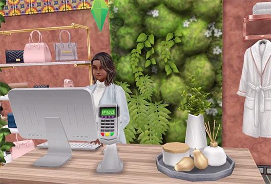 ARモードで見る、美容スパのサービスカウンター(The Sims フリープレイ)