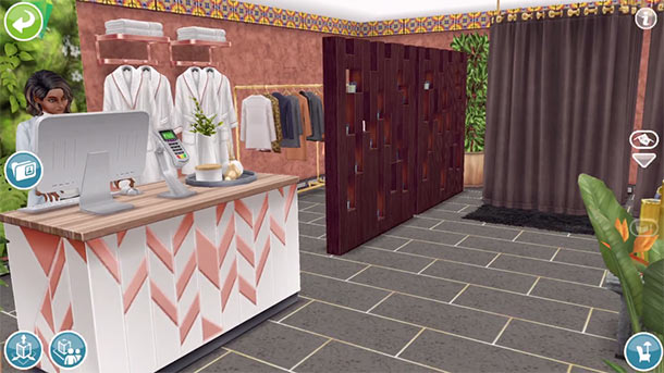 ARモードで見る、美容スパのサービスカウンターから着替えエリア(The Sims フリープレイ)