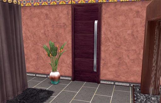 ARモードで見る、スパへのドア。変更前(The Sims フリープレイ)