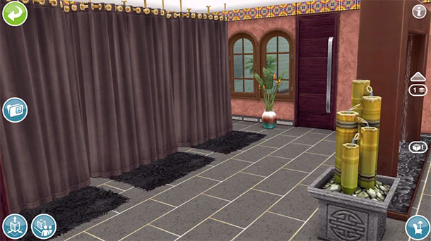 ARモードで見る、スパへのドア。変更後(The Sims フリープレイ)