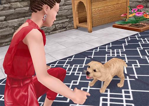 ARモード:ゴールデンレトリバーの子犬と遊ぶシム(The Sims フリープレイ)