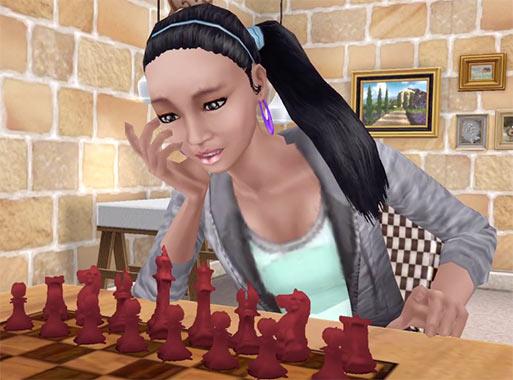 ARモード:チェスに悩むシム(The Sims フリープレイ)