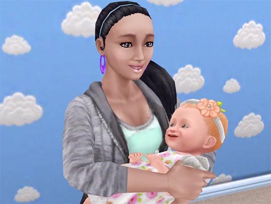 ARモード:とろけるような幸せ顔で、赤ちゃんを抱くシム(The Sims フリープレイ)