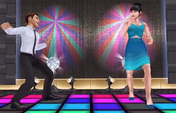 ARモード:ダンスフロアで踊る男女シム(The Sims フリープレイ)