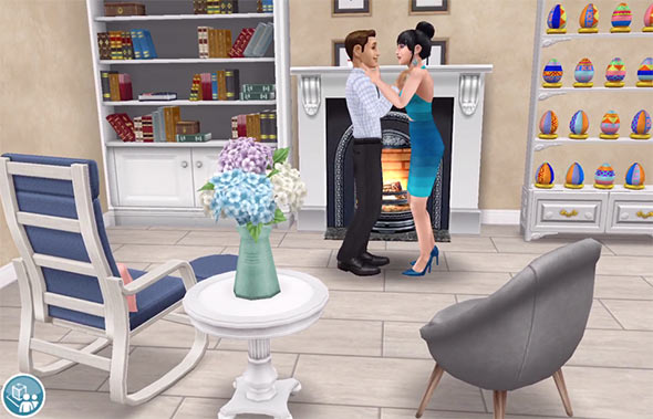 ARモード:「ロマンチックに手を握る」アクションを楽しむ男女シム(The Sims フリープレイ)