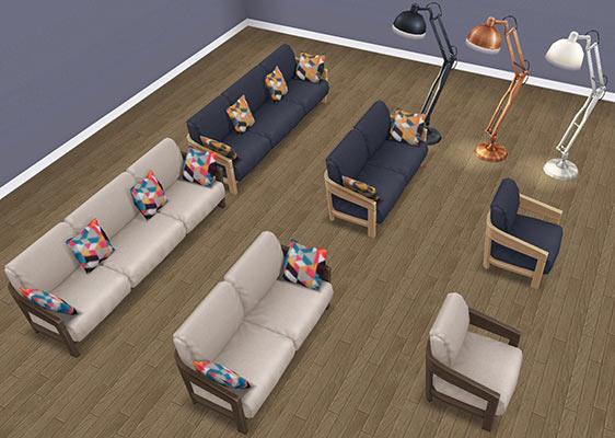 オンラインストア商品「シックなラウンジルーム家具」パックに入っていたアイテム一覧(The Sims フリープレイ)