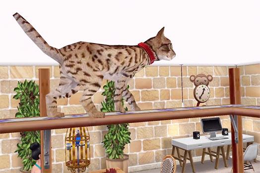 ARモード:キャットランで遊ぶベンガル猫(The Sims フリープレイ)