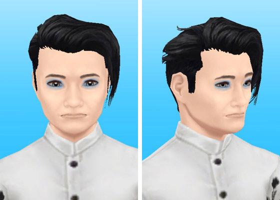 趣味賞品メイクアップスタイル6を装着した男性シム顔アップ(The Sims フリープレイ)