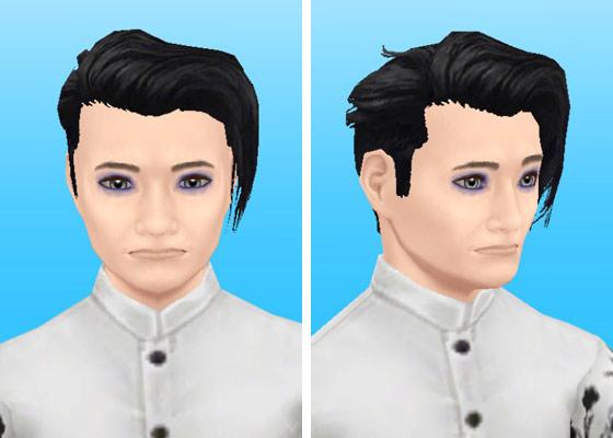 趣味賞品メイクアップスタイル7を装着した男性シム顔アップ(The Sims フリープレイ)