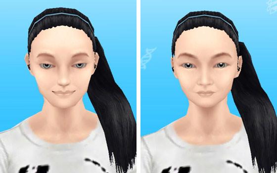 女性シムすっぴん顔アップ:美人顔、小顔(The Sims フリープレイ)