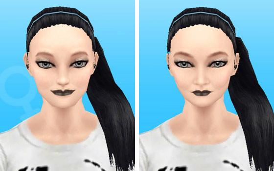 趣味賞品メイクアップスタイル1を装着した女性シム顔アップ(The Sims フリープレイ)