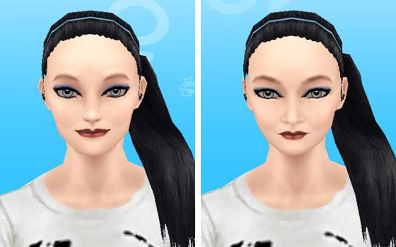 趣味賞品メイクアップスタイル2を装着した女性シム顔アップ(The Sims フリープレイ)