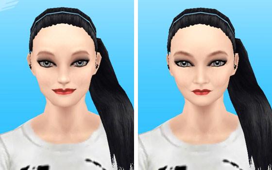趣味賞品メイクアップスタイル3を装着した女性シム顔アップ(The Sims フリープレイ)