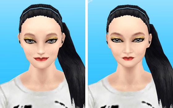 趣味賞品メイクアップスタイル4を装着した女性シム顔アップ(The Sims フリープレイ)