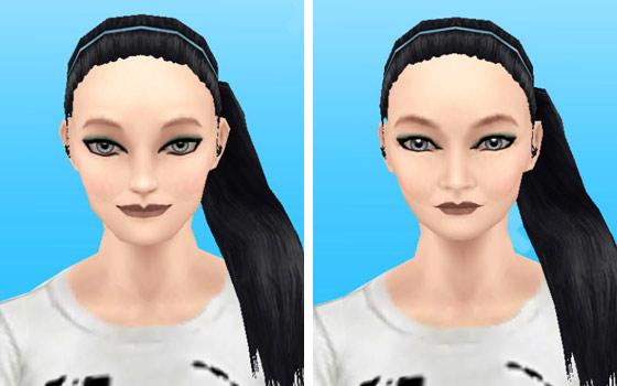 趣味賞品メイクアップスタイル5を装着した女性シム顔アップ:白人肌(The Sims フリープレイ)
