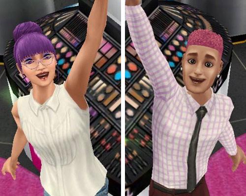 メイクアップコーナーで腕を上げて喜ぶ男女シム(The Sims フリープレイ)