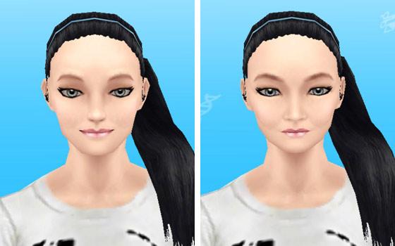 ヌーディーピンクリップのメイクアップスタイルを装着した女性シム顔アップ(The Sims フリープレイ)