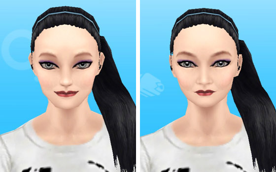 趣味賞品メイクアップスタイル6を装着した女性シム顔アップ(The Sims フリープレイ)