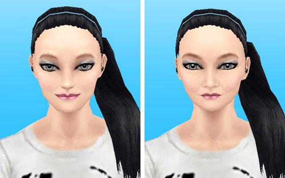 趣味賞品メイクアップスタイル7を装着した女性シム顔アップ(The Sims フリープレイ)