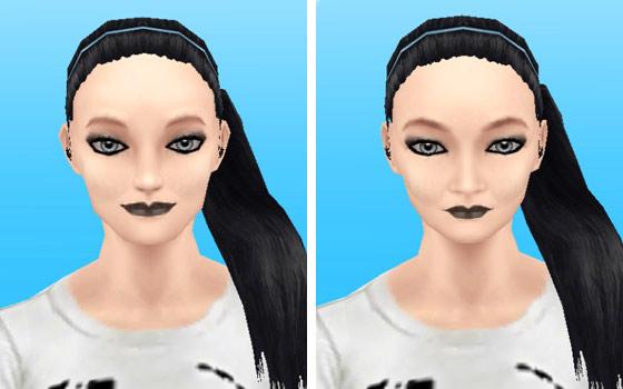 モール販売のブラックメイクアップスタイルを装着した女性シム顔アップ(The Sims フリープレイ)