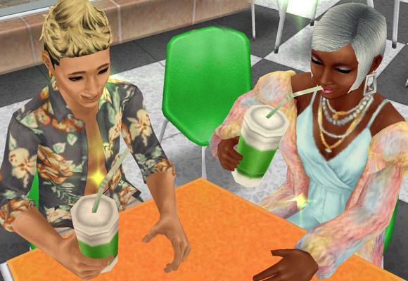 メイクアップでおめかしした姿でジュースを飲む男女シム(The Sims フリープレイ)