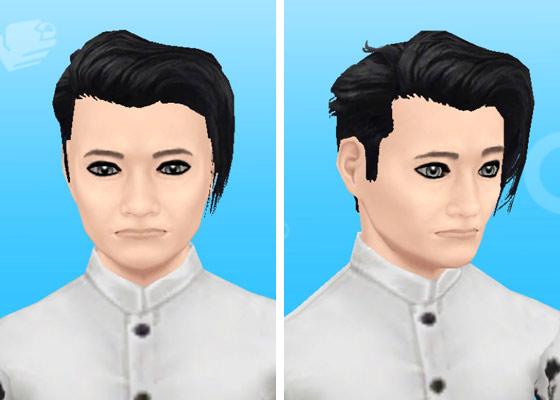 趣味賞品メイクアップスタイル1を装着した男性シム顔アップ(The Sims フリープレイ)