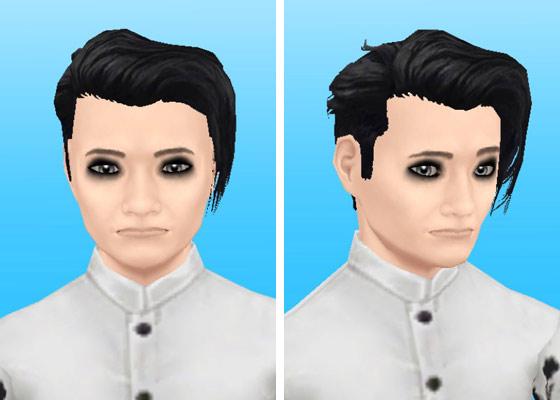 趣味賞品メイクアップスタイル2を装着した男性シム顔アップ(The Sims フリープレイ)