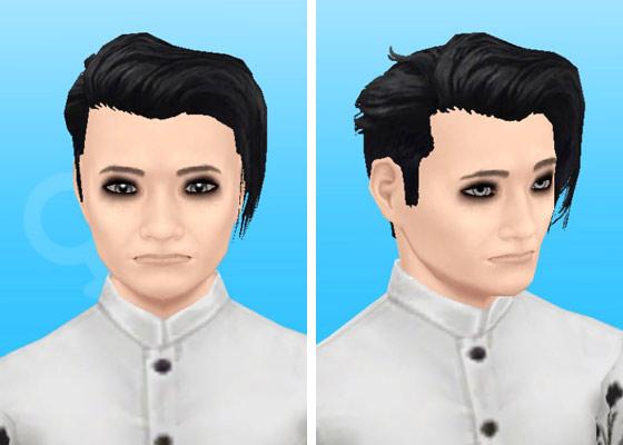 趣味賞品メイクアップスタイル3を装着した男性シム顔アップ(The Sims フリープレイ)