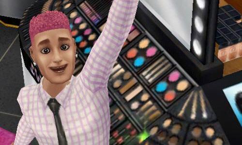 メイクアップコーナーで腕を上げて喜ぶ、アイメイクした男性シム(The Sims フリープレイ)