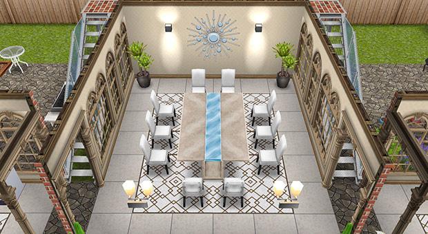 デザイナーズ住宅1ダイニングルーム(The Sims フリープレイ)