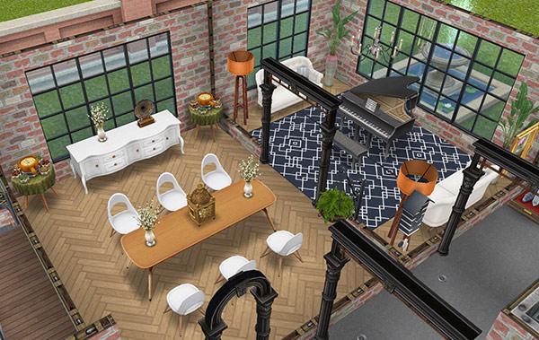 デザイナーズ住宅2、ダイニングルーム、ピアノラウンジ(The Sims フリープレイ)