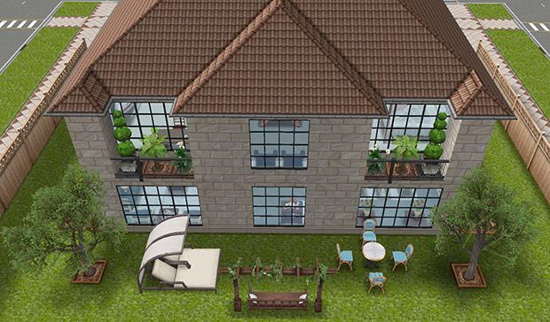 デザイナーズ住宅3裏側外観(The Sims フリープレイ)