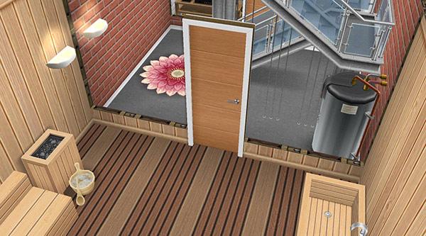 サウナルームに設置された褐色の木製シングルドア(The Sims フリープレイ)