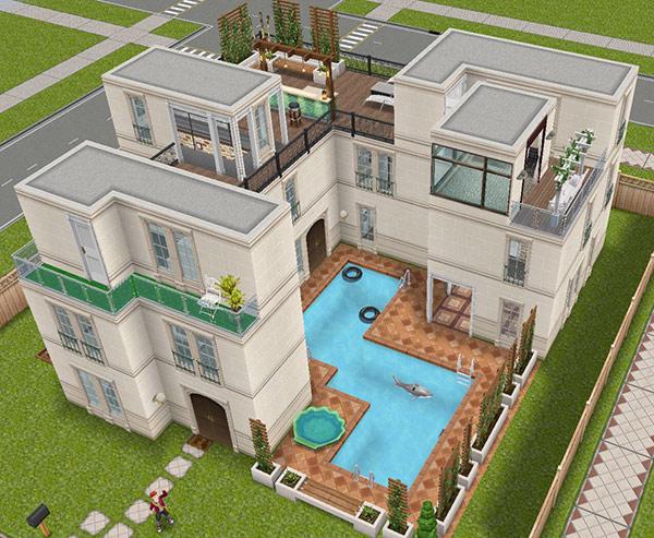 デザイナーズ住宅7外観(The Sims フリープレイ)