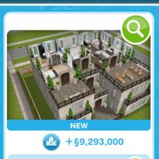 デザイナーズ住宅ショップで売り出し中の家(The Sims フリープレイ)