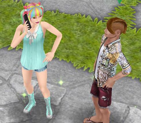 立ち話するティーンシムたち(The Sims フリープレイ)