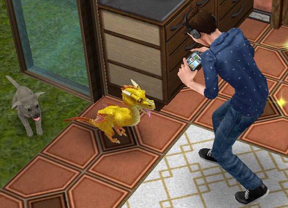 ドラゴンと子犬の写真を撮影するティーンシム(The Sims フリープレイ)