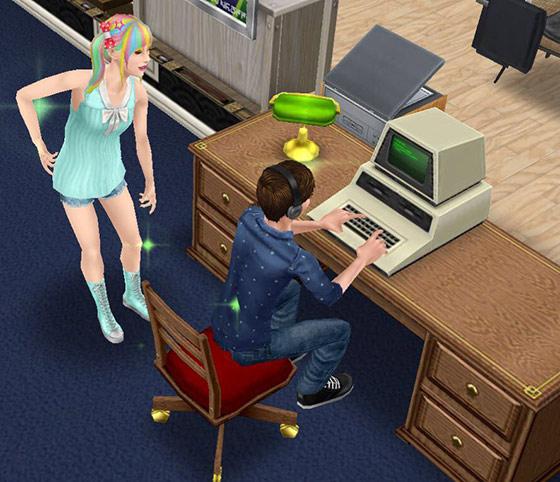 パソコンを使用するティーンシム(The Sims フリープレイ)