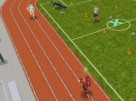 ランニングトラックを駆け回るティーンシムたち(The Sims フリープレイ)
