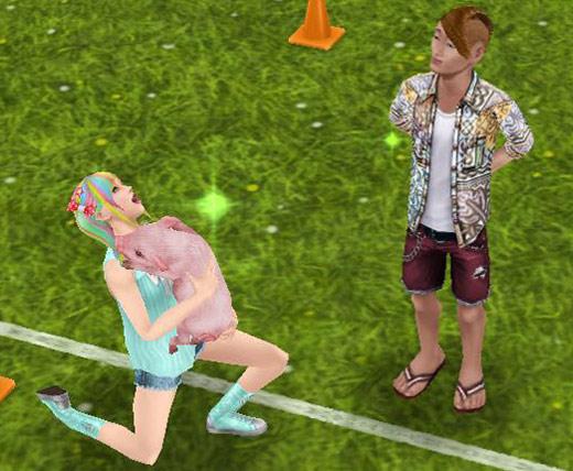 ミニブタを抱いて喜ぶティーンシム(The Sims フリープレイ)