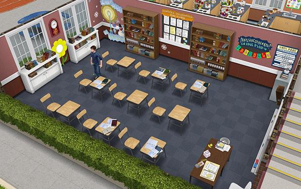 ダウンタウン高校の英語教室(The Sims フリープレイ)