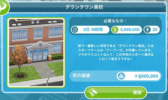 ダウンタウン高校、建築(The Sims フリープレイ)