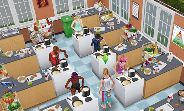 家庭科室で料理に励むティーンシムたち(The Sims フリープレイ)