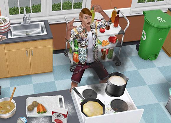 煙の出た料理に慌てるティーンシム(The Sims フリープレイ)