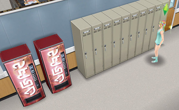 ダウンタウン高校廊下にあるロッカーと自動販売機(The Sims フリープレイ)