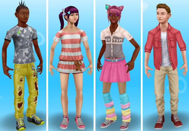 高校生っぽい服装に着替えたティーンシムたち(The Sims フリープレイ)