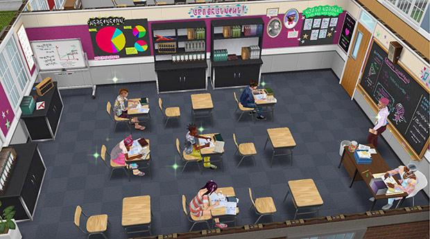ダウンタウン高校2階の教室で授業に挑むシムたち(The Sims フリープレイ)