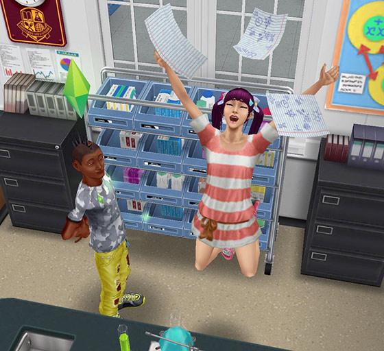ルーズリーフを散らしジャンプして喜ぶティーンシム(The Sims フリープレイ)